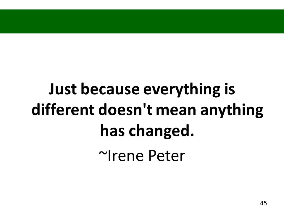 Just because everything is different doesn't mean anything has changed. ~Irene Peter 45