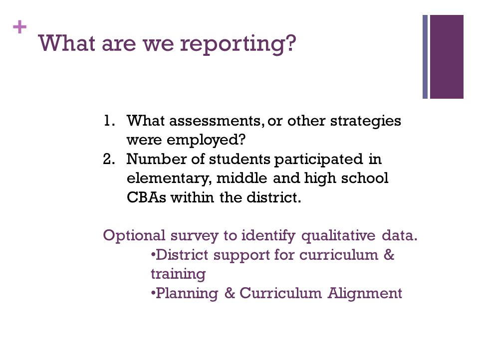 + What are we reporting? 1.What assessments, or other strategies were employed? 2.Number of students participated in elementary, middle and high schoo