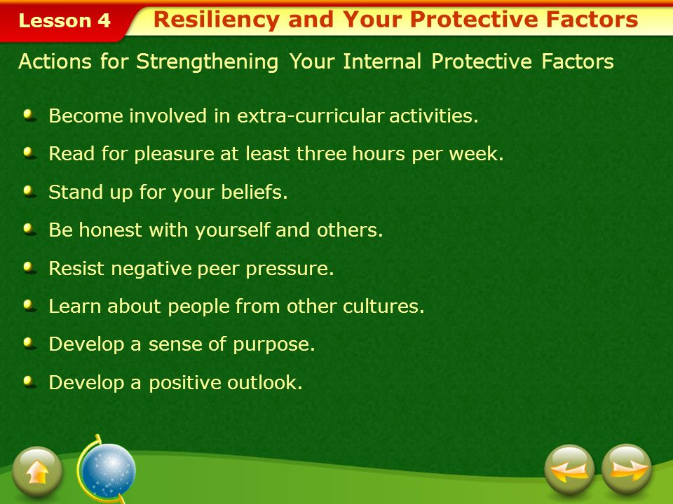 Lesson 4 Building Resiliency by Strengthening Your Protective Factors Teens who do not have all their external protective factors in place can strengthen the ones they do have.