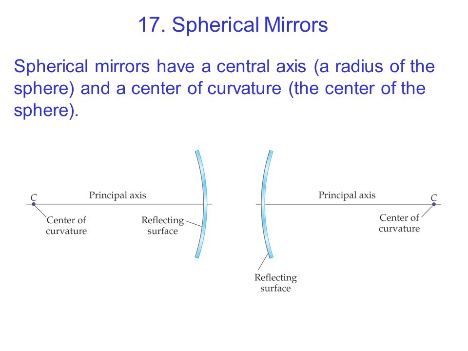 17. Spherical Mirrors Spherical mirrors have a central axis (a radius of the sphere) and a center of curvature (the center of the sphere).