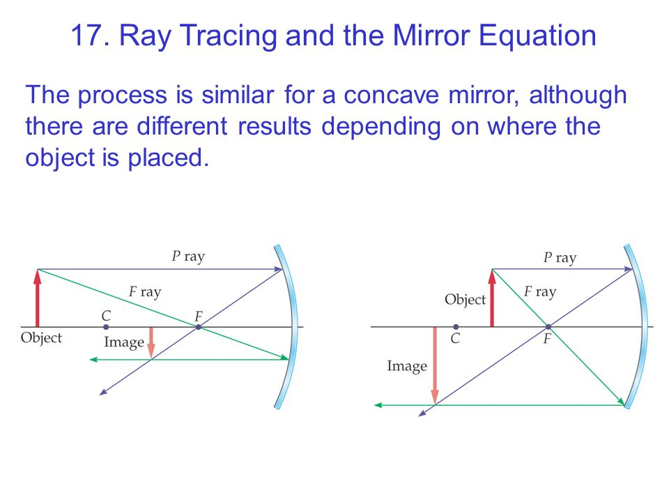 17. Ray Tracing and the Mirror Equation The process is similar for a concave mirror, although there are different results depending on where the objec