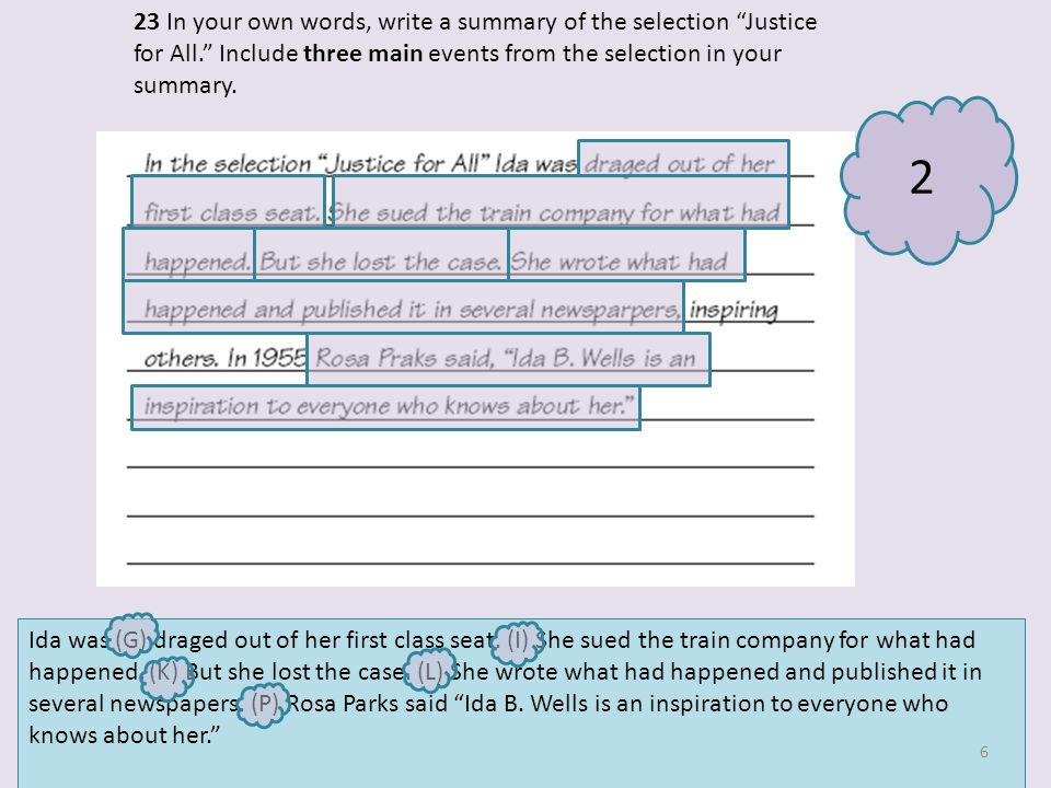 23 In your own words, write a summary of the selection Justice for All.