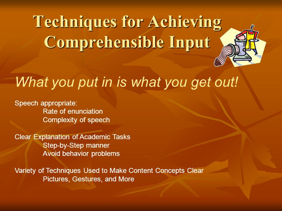 Techniques for Achieving Comprehensible Input What you put in is what you get out.