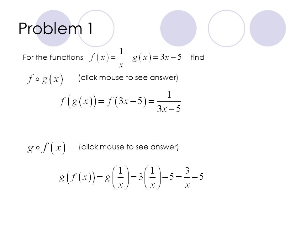 Problem 1 For the functionsfind (click mouse to see answer)