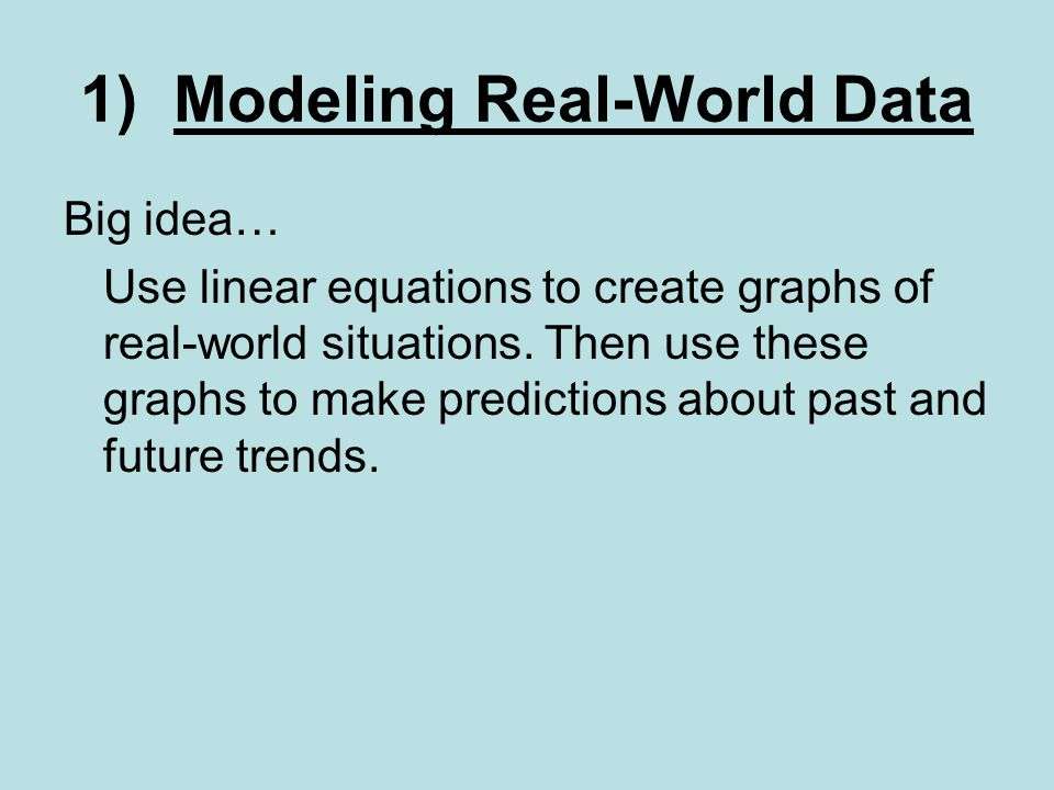 1) Modeling Real-World Data Big idea… Use linear equations to create graphs of real-world situations.