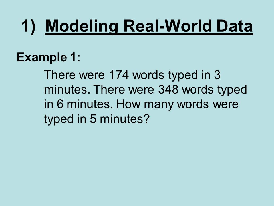 Example 1: There were 174 words typed in 3 minutes.
