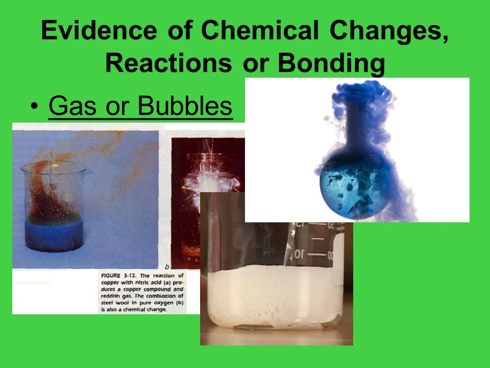 Evidence of Chemical Changes, Reactions or Bonding Gas or Bubbles