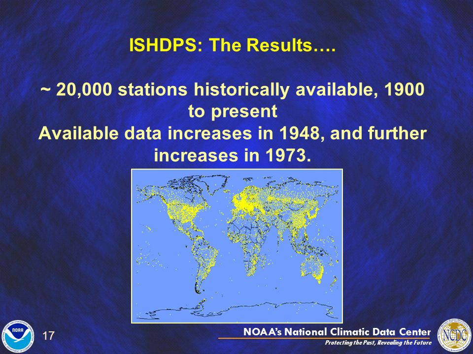 NOAAs National Climatic Data Center Protecting the Past, Revealing the Future 17 ISHDPS: The Results…. ~ 20,000 stations historically available, 1900