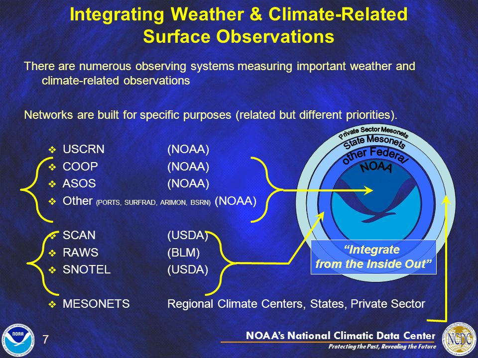 NOAAs National Climatic Data Center Protecting the Past, Revealing the Future 7 Integrating Weather & Climate-Related Surface Observations There are numerous observing systems measuring important weather and climate-related observations Networks are built for specific purposes (related but different priorities).