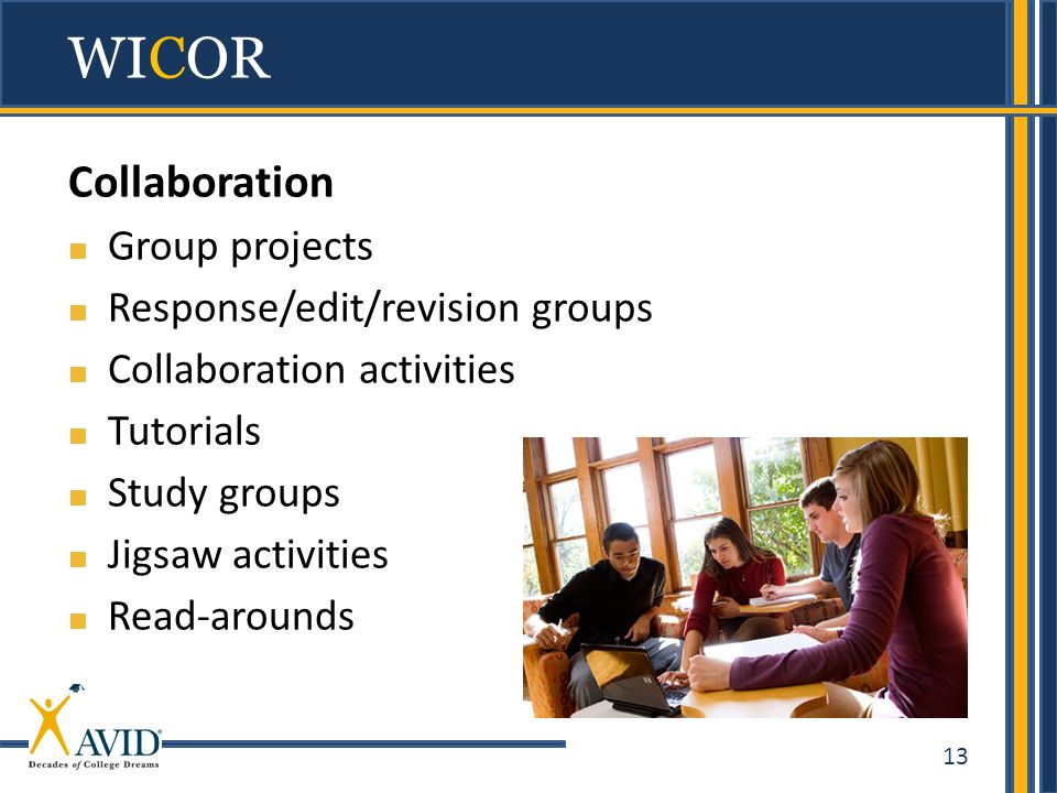 13 Collaboration Group projects Response/edit/revision groups Collaboration activities Tutorials Study groups Jigsaw activities Read-arounds WICOR