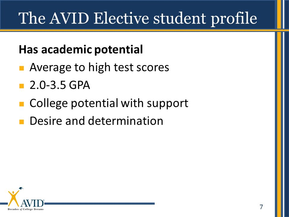 7 Has academic potential Average to high test scores 2.0-3.5 GPA College potential with support Desire and determination The AVID Elective student pro