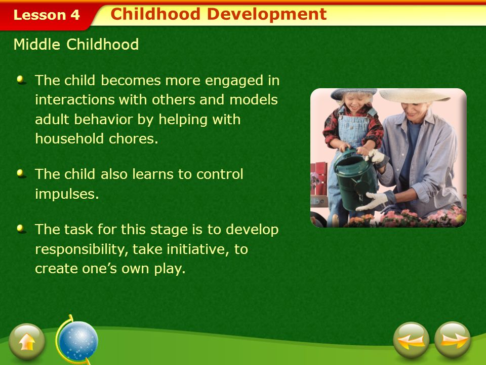 Lesson 4 If parents accept the childs need to do whatever he or she is capable of, the child will develop a sense of autonomy.autonomy Role of Parents During Early Childhood If parents are overprotective or critical of the childs behaviors, the child may develop doubts about his or her abilities.