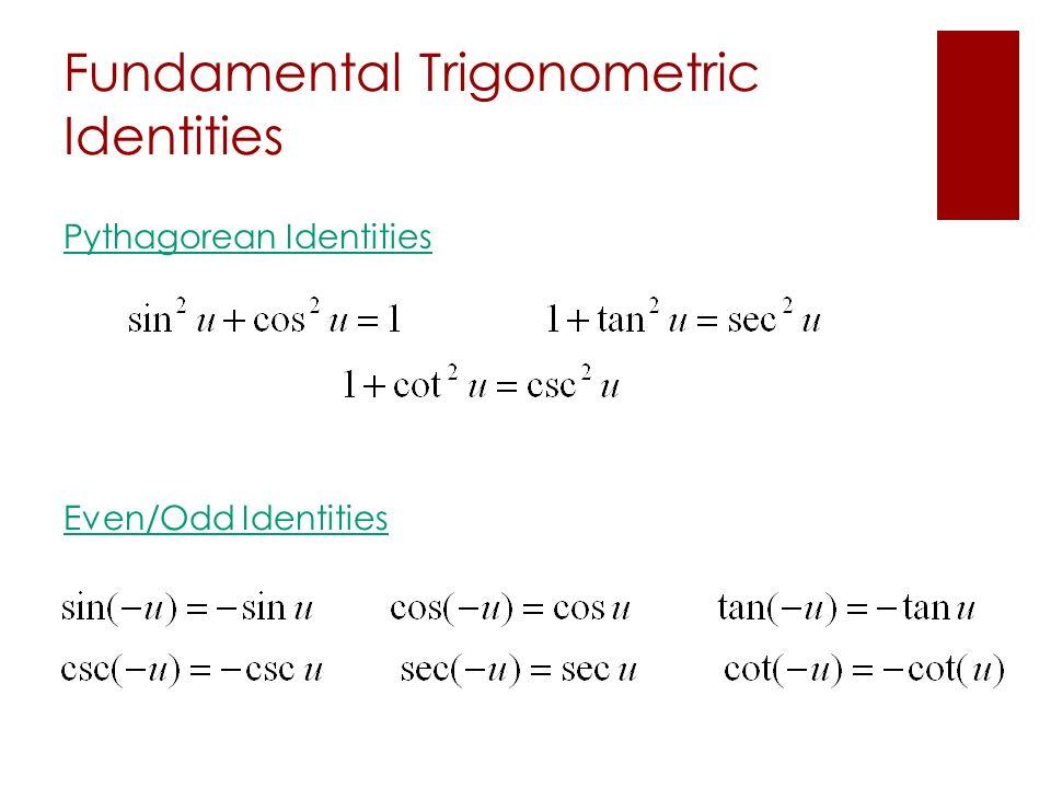 Fundamental Trigonometric Identities Pythagorean Identities Even/Odd Identities