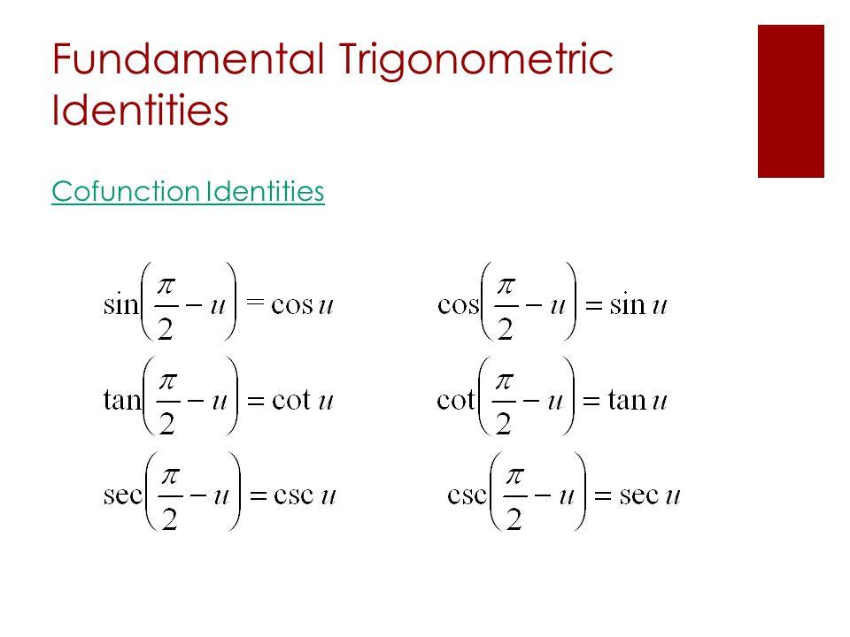 Fundamental Trigonometric Identities Cofunction Identities