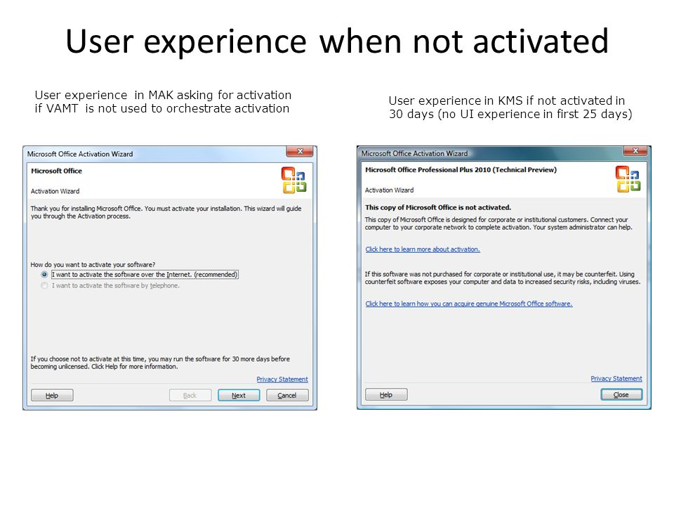 User experience in MAK asking for activation if VAMT is not used to orchestrate activation User experience in KMS if not activated in 30 days (no UI e
