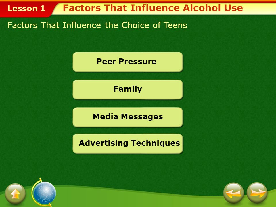 Lesson 1 At first, drinking alcohol may provide a kind of energy rush. This initial reaction masks alcohols true effects as a depressant. depressant A