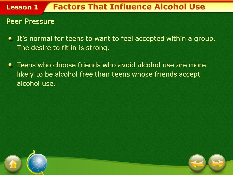 Lesson 1 Factors That Influence the Choice of Teens Peer PressureFamilyMedia MessagesAdvertising Techniques Factors That Influence Alcohol Use