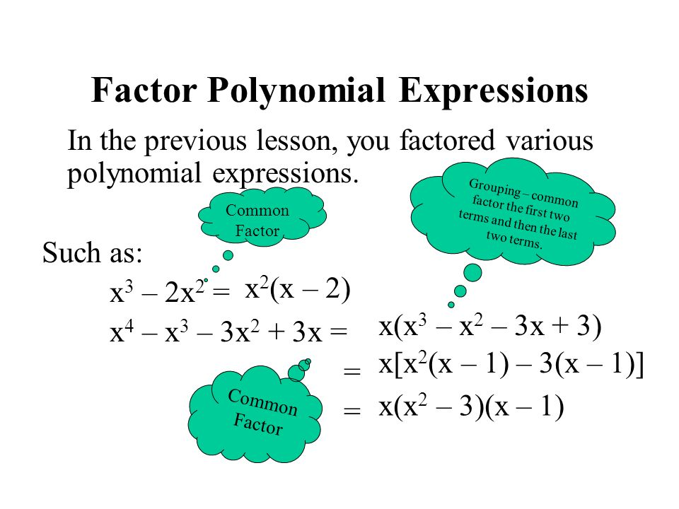Solving Polynomial Equations Solve Set equation equal to zero.
