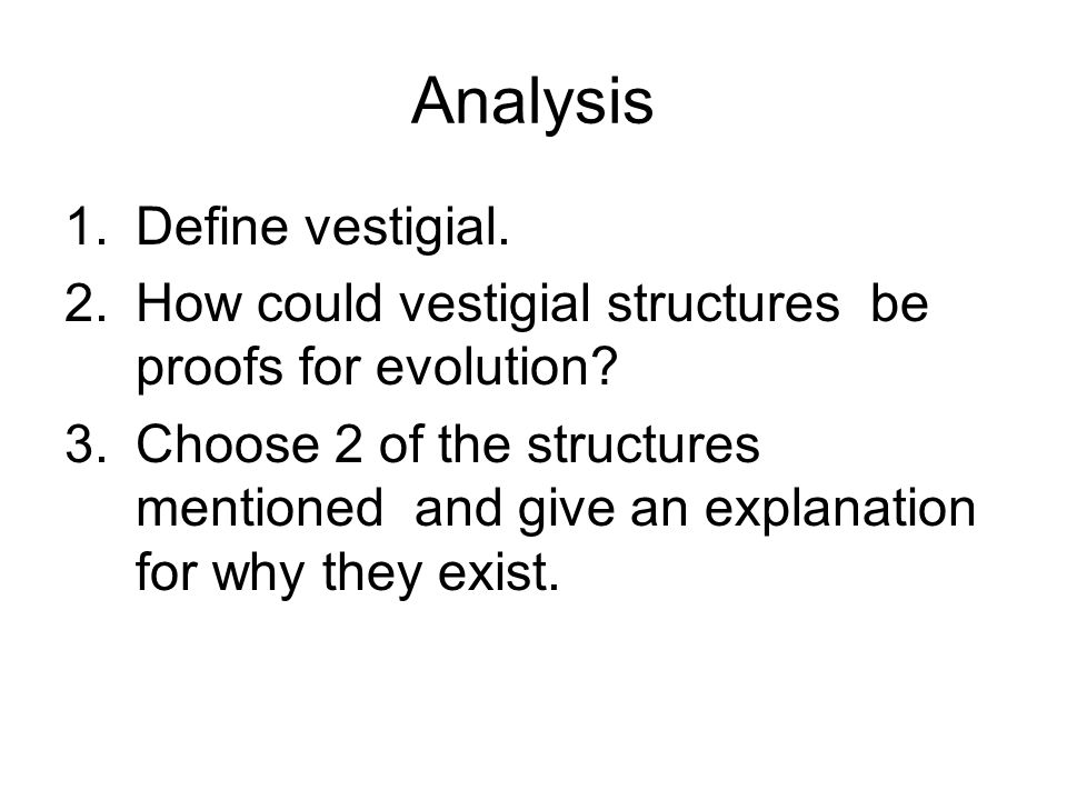 Analysis 1.Define vestigial. 2.How could vestigial structures be proofs for evolution? 3.Choose 2 of the structures mentioned and give an explanation