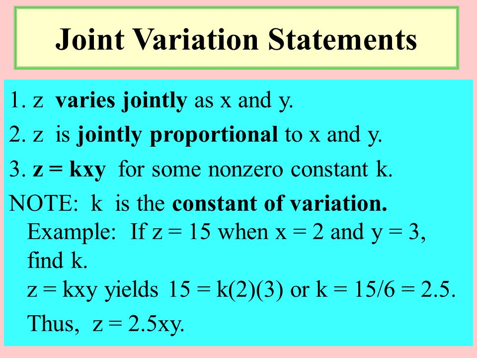 1. y varies inversely as x. 2. y is inversely proportional to x. 3. y = k / x for some nonzero constant k. NOTE: k is the constant of variation or the