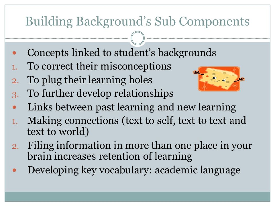 Building Backgrounds Sub Components Concepts linked to students backgrounds 1.