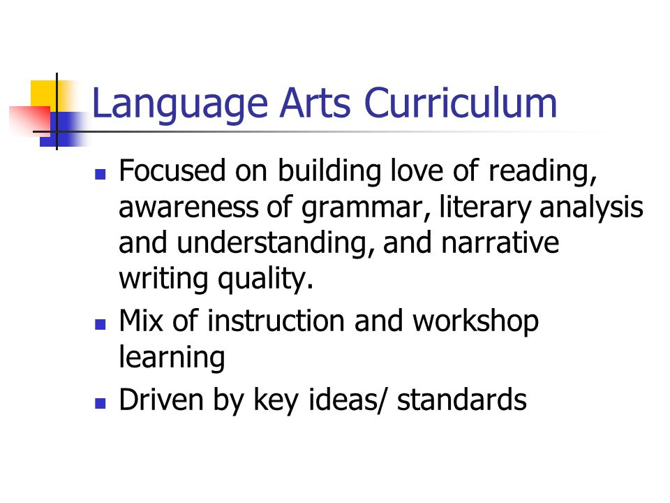 Language Arts Curriculum Focused on building love of reading, awareness of grammar, literary analysis and understanding, and narrative writing quality