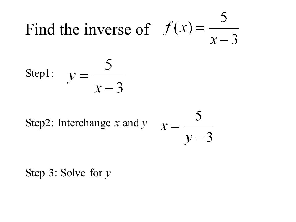 Find the inverse of Step1: Step2: Interchange x and y Step 3: Solve for y