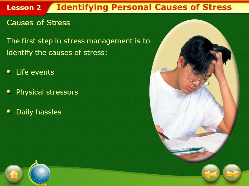 Lesson 2 In this lesson, youll learn to: Identify personal causes of stress. Demonstrate refusal strategies for avoiding some stressful situations. De