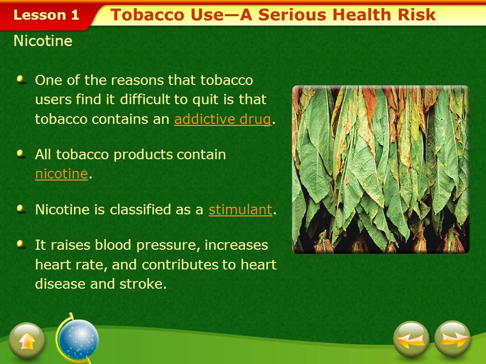 Lesson 1 Describe the harmful substances contained in tobacco and in tobacco smoke. Examine the harmful effects of tobacco use on body systems. Analyz
