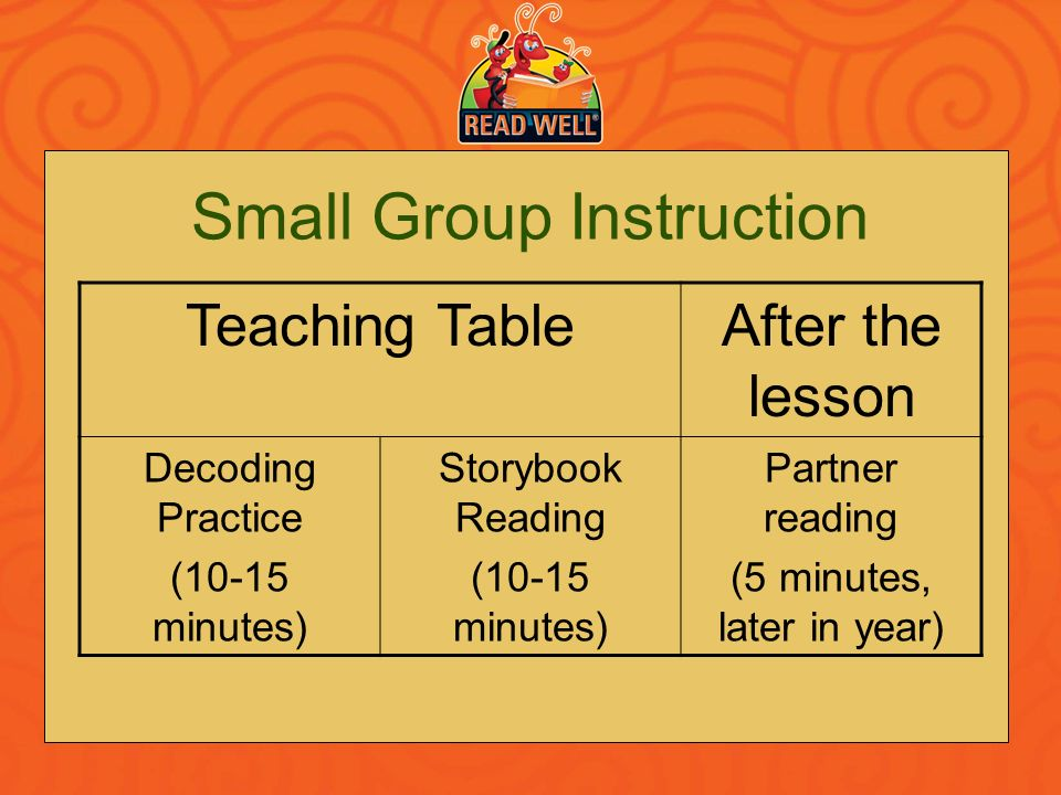 Small Group Instruction Teaching TableAfter the lesson Decoding Practice (10-15 minutes) Storybook Reading (10-15 minutes) Partner reading (5 minutes,