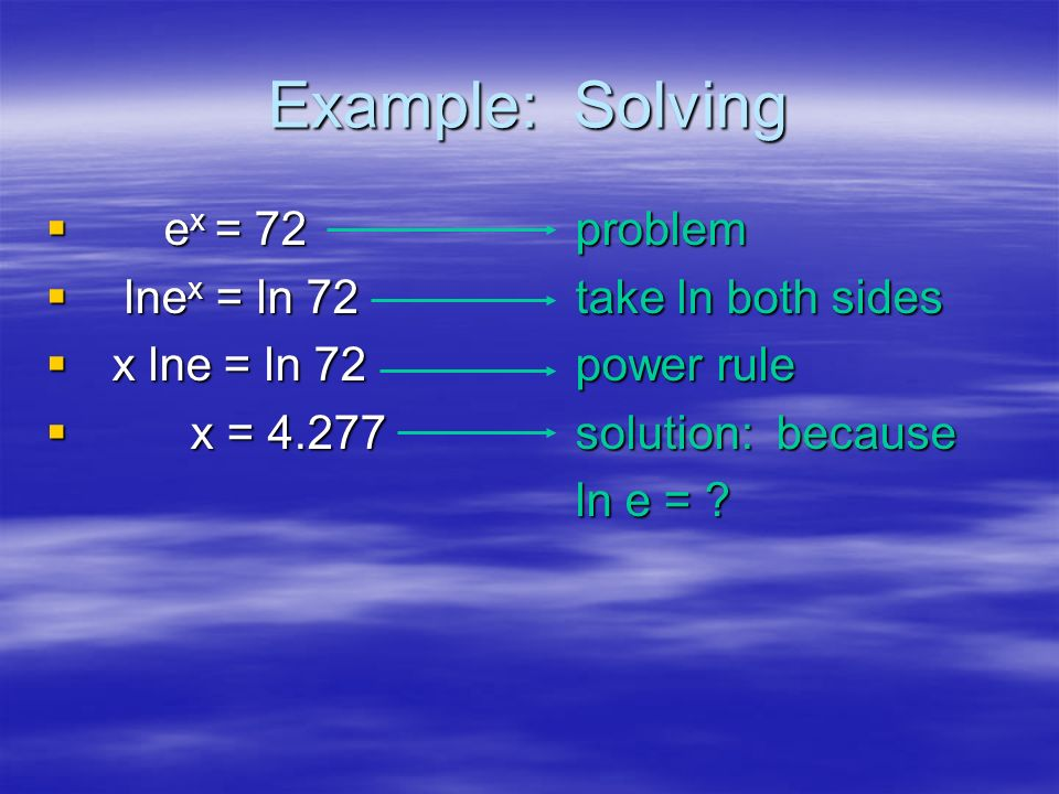 Example: Solving 2 2x = 7 problem ln2x = ln7 take ln both sides xln2 = ln7power rule x x = divide to solve for x = 2.807