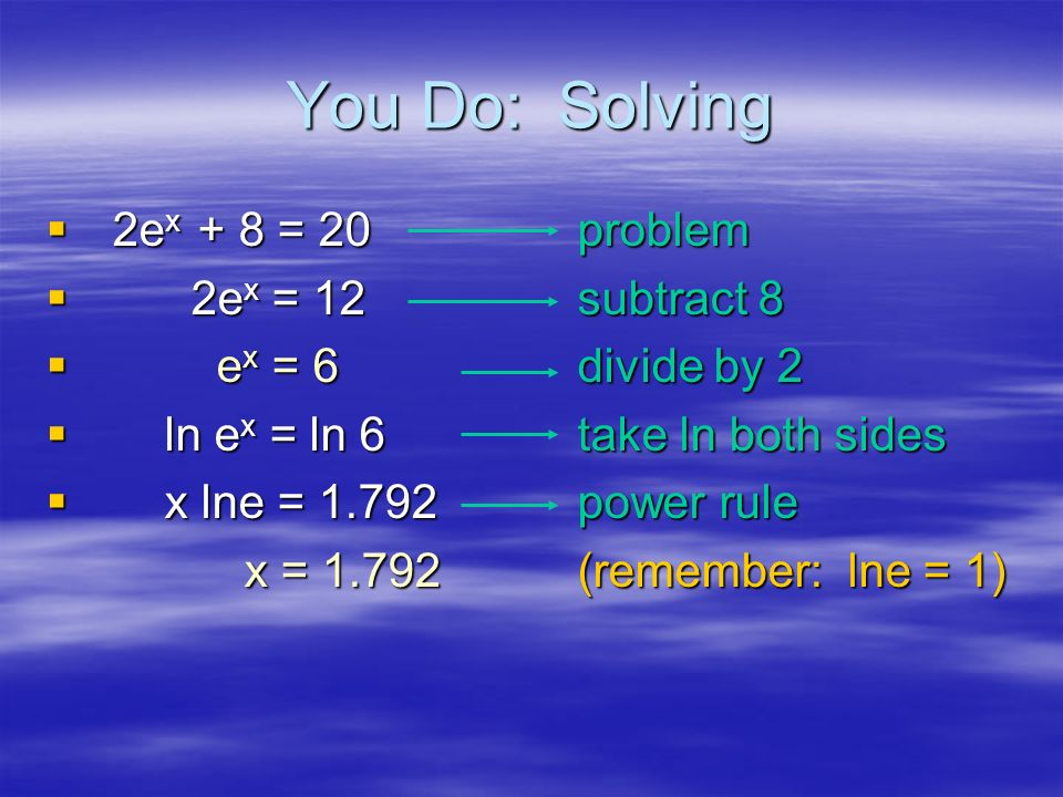 Example: Solving e ex = 72problem l lnex = ln 72take ln both sides x x lne = ln 72power rule = 4.277solution: because ln e =