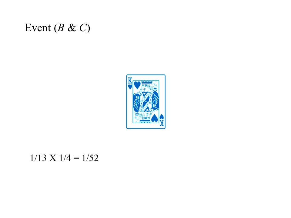 Event (B & C) 1/13 X 1/4 = 1/52