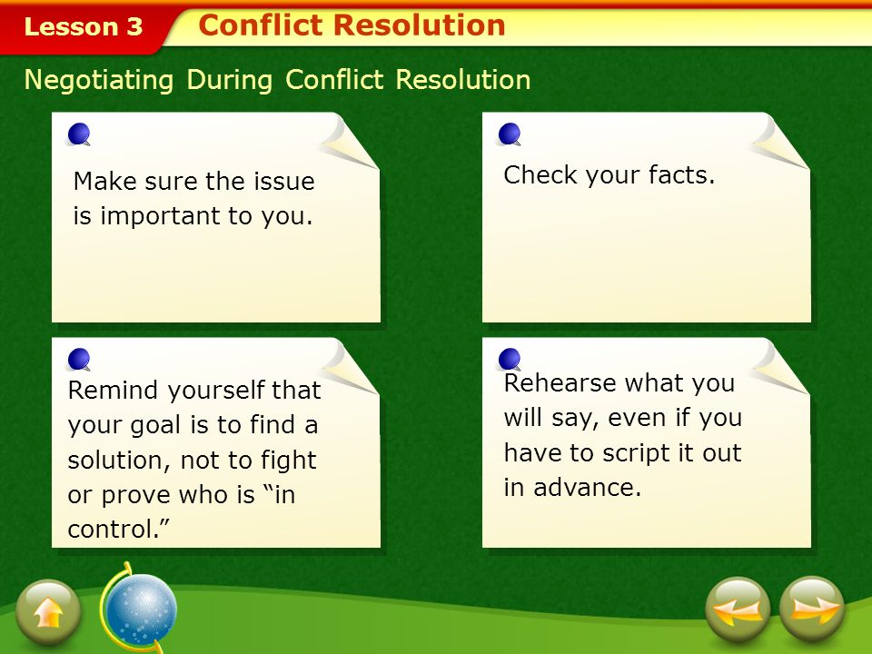 Lesson 3 Negotiating During Conflict Resolution The negotiation process involves the following:negotiation Talking Listening Considering the other persons point of view Compromising, if necessary Devising a plan for working jointly to resolve the conflict Conflict Resolution