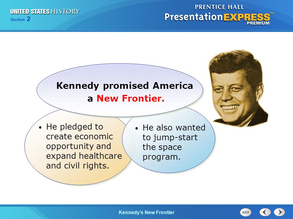 Chapter 25 Section 1 The Cold War Begins Section 2 Kennedys New Frontier He also wanted to jump-start the space program. Kennedy promised America a Ne