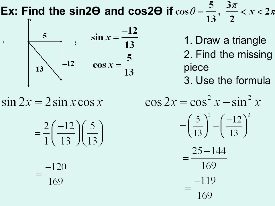Ex: Find the sin2Ө and cos2Ө if 1. Draw a triangle 2. Find the missing piece 3. Use the formula