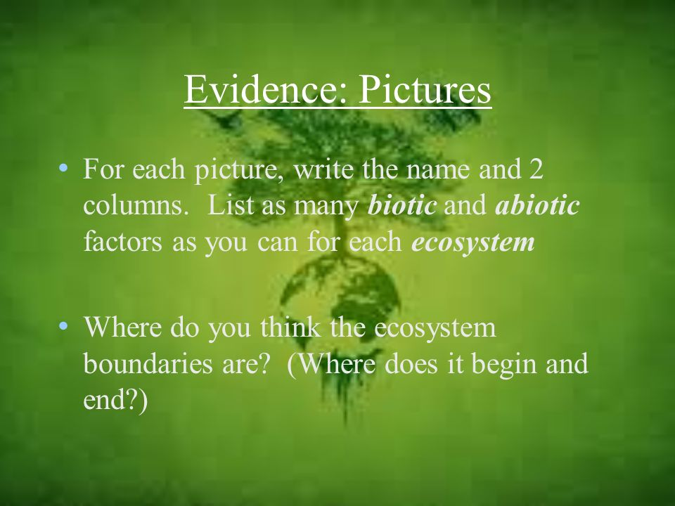 Evidence: Pictures For each picture, write the name and 2 columns. List as many biotic and abiotic factors as you can for each ecosystem Where do you