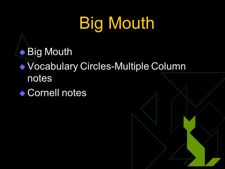 Big Mouth Vocabulary Circles-Multiple Column notes Cornell notes