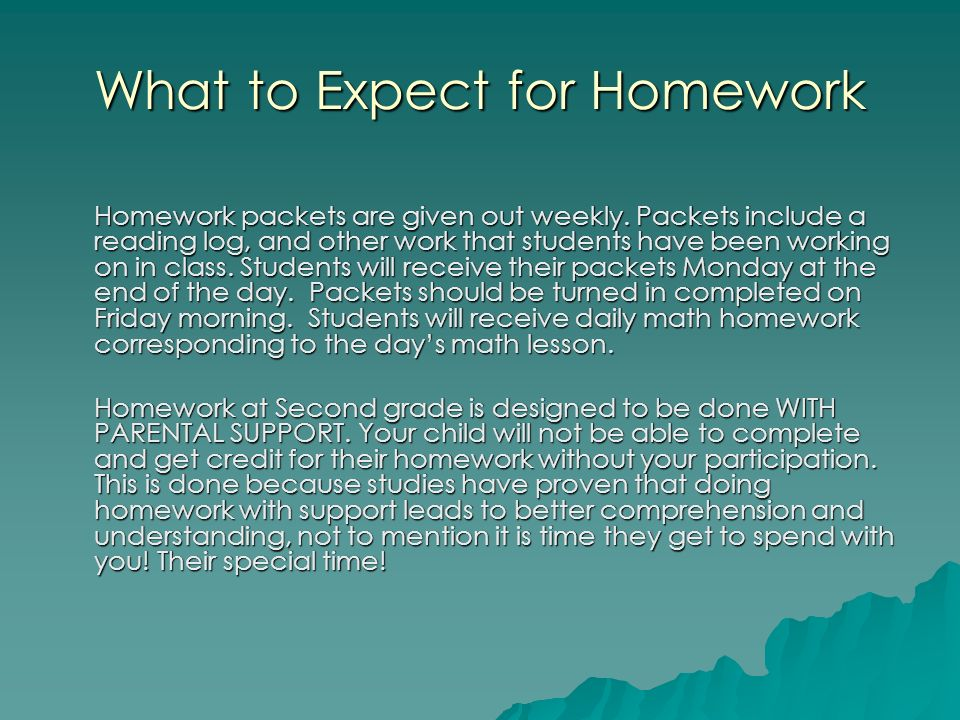 What to Expect for Homework Homework packets are given out weekly.