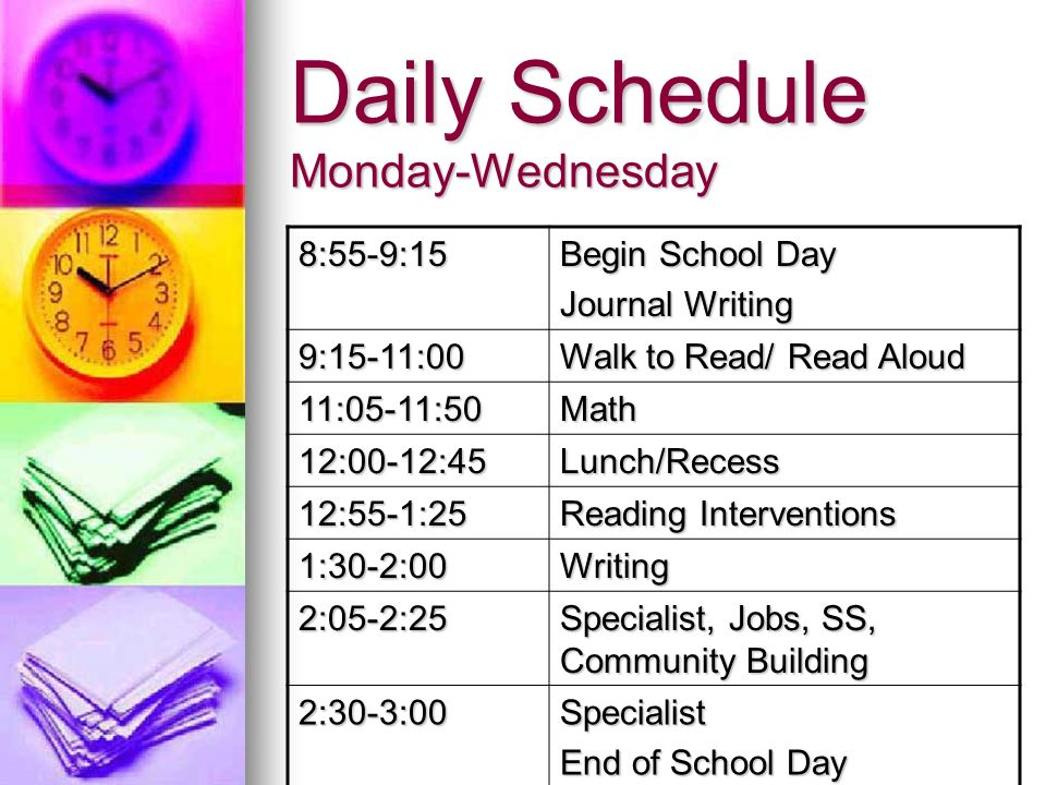 Daily Schedule Monday-Wednesday 8:55-9:15 Begin School Day Journal Writing 9:15-11:00 Walk to Read/ Read Aloud 11:05-11:50Math 12:00-12:45Lunch/Recess 12:55-1:25 Reading Interventions 1:30-2:00Writing 2:05-2:25 Specialist, Jobs, SS, Community Building 2:30-3:00Specialist End of School Day