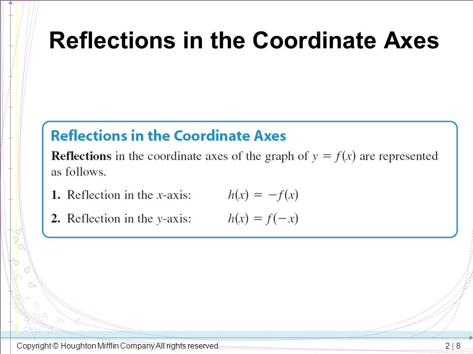 2 | 8 Copyright © Houghton Mifflin Company.All rights reserved. Reflections in the Coordinate Axes