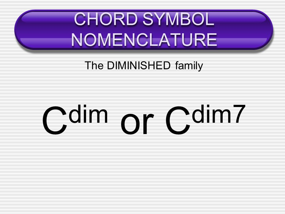 CHORD SYMBOL NOMENCLATURE The DIMINISHED family C dim or C dim7