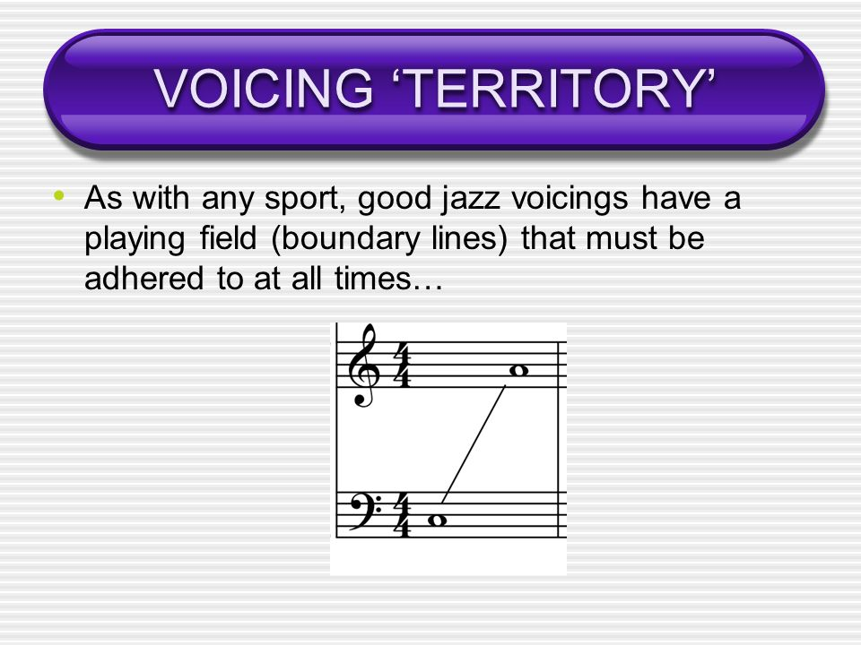 VOICING TERRITORY As with any sport, good jazz voicings have a playing field (boundary lines) that must be adhered to at all times…