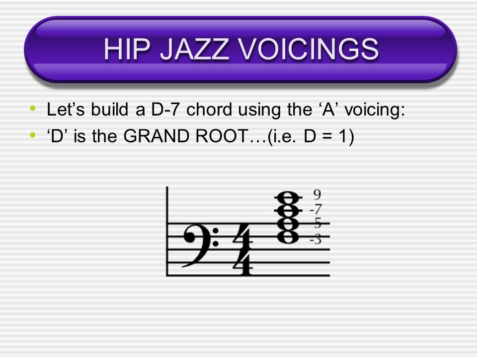 HIP JAZZ VOICINGS Lets build a D-7 chord using the A voicing: D is the GRAND ROOT…(i.e. D = 1)