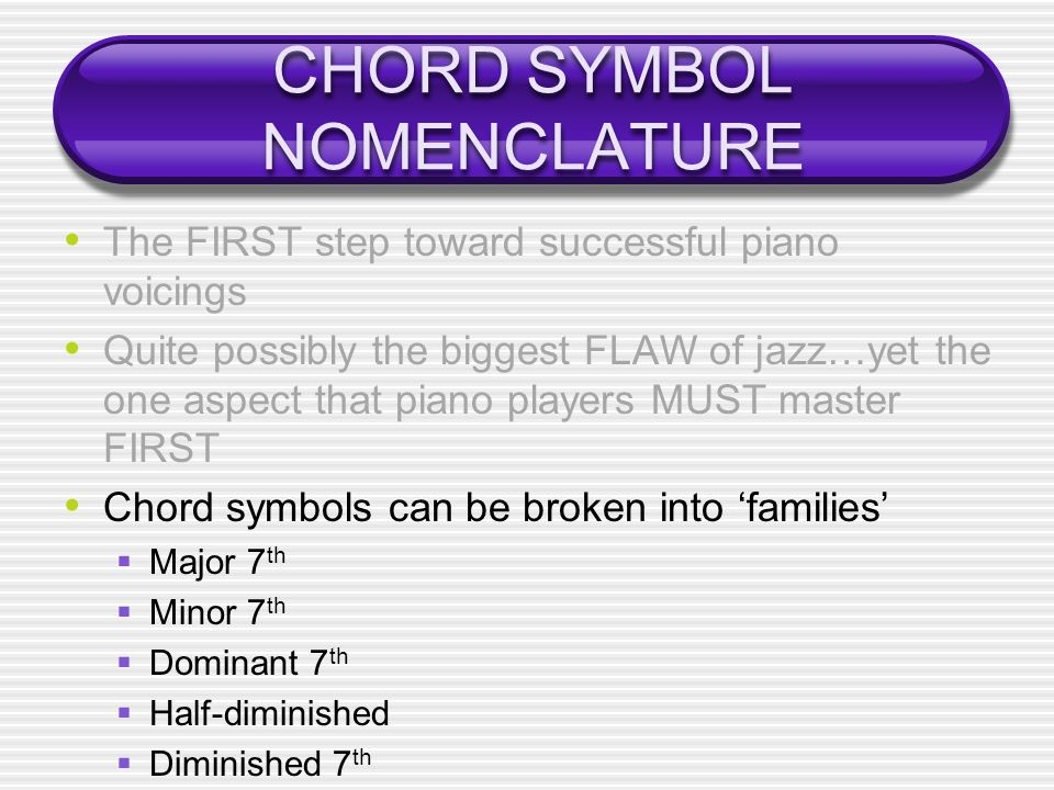 CHORD SYMBOL NOMENCLATURE The FIRST step toward successful piano voicings Quite possibly the biggest FLAW of jazz…yet the one aspect that piano players MUST master FIRST Chord symbols can be broken into families Major 7 th Minor 7 th Dominant 7 th Half-diminished Diminished 7 th