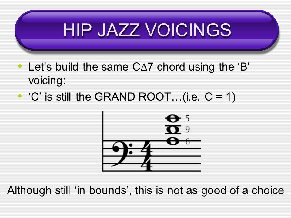 HIP JAZZ VOICINGS Lets build the same C7 chord using the B voicing: C is still the GRAND ROOT…(i.e.