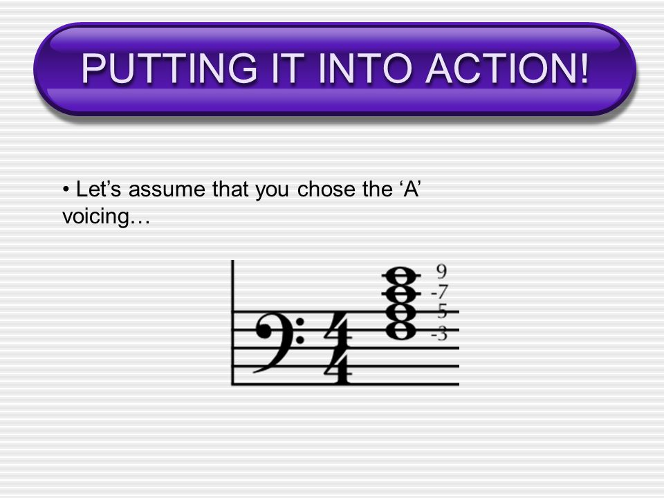 PUTTING IT INTO ACTION! Lets assume that you chose the A voicing…