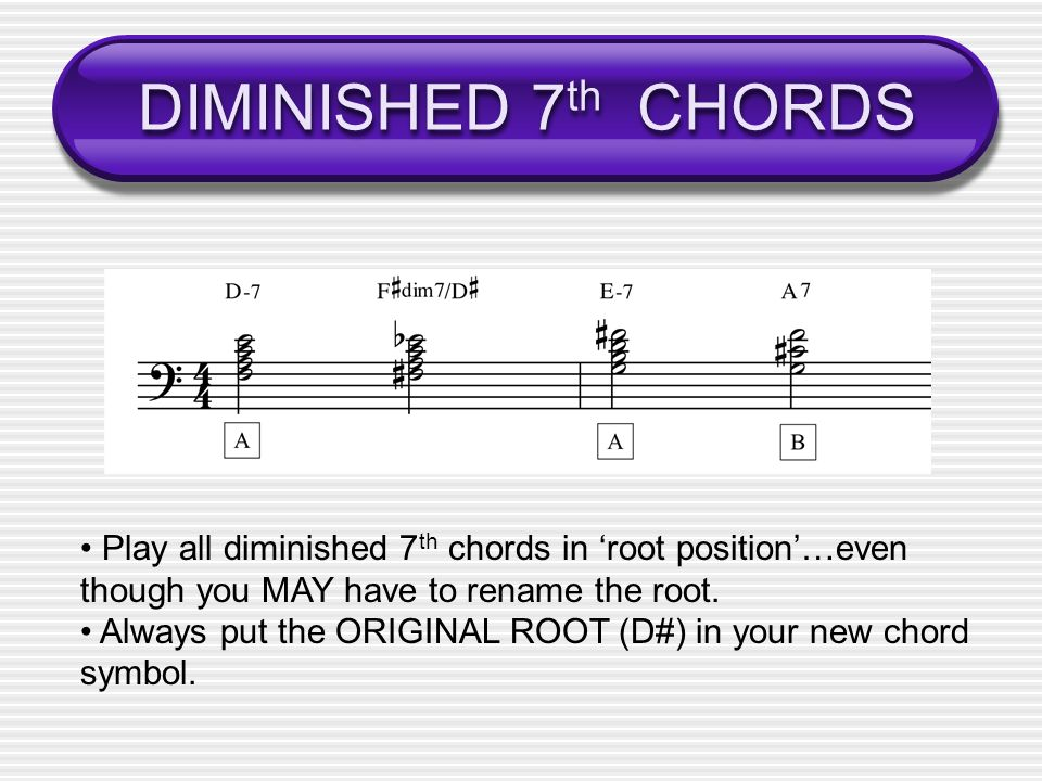 DIMINISHED 7 th CHORDS Play all diminished 7 th chords in root position…even though you MAY have to rename the root.