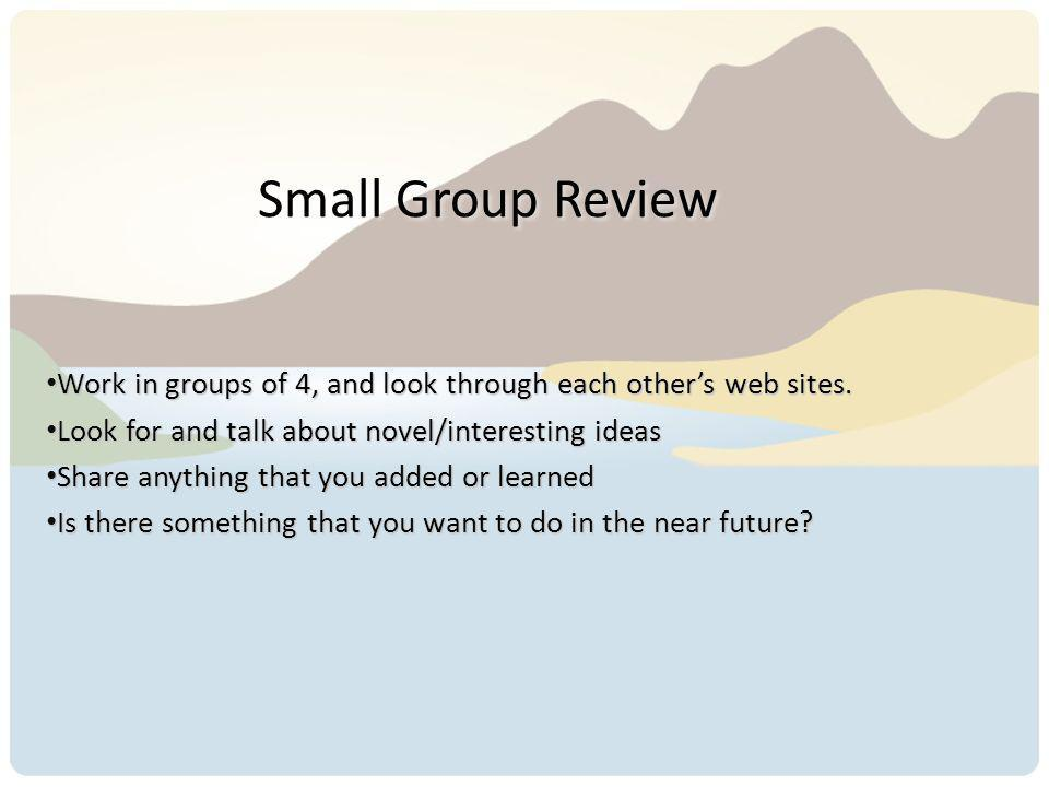 Small Group Review Work in groups of 4, and look through each others web sites. Work in groups of 4, and look through each others web sites. Look for