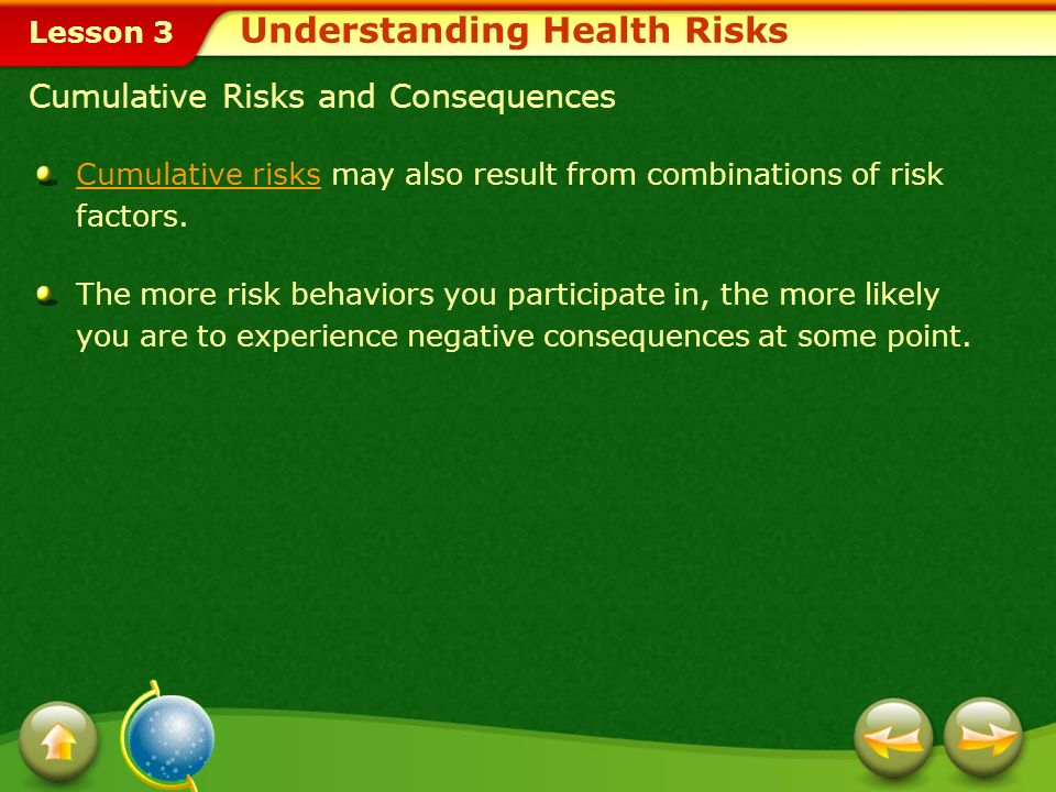 Lesson 3 Recognizing Risk Behaviors The chart shows six categories of personal health risk factors and the results collected from a recent teen survey